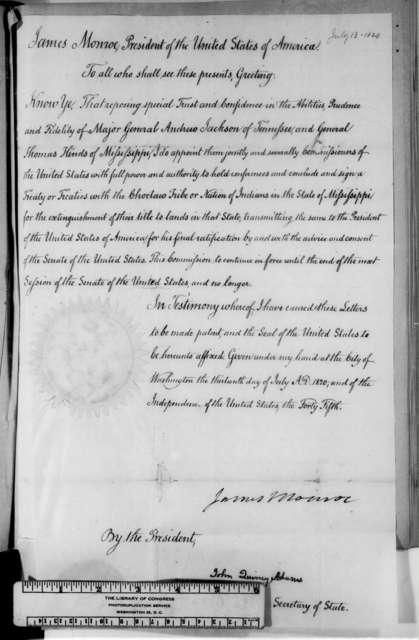 James Monroe and John Quincy Adams, July 13, 1820