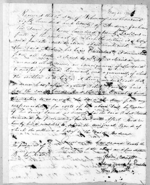 John Barnett to Andrew Jackson, February 3, 1820