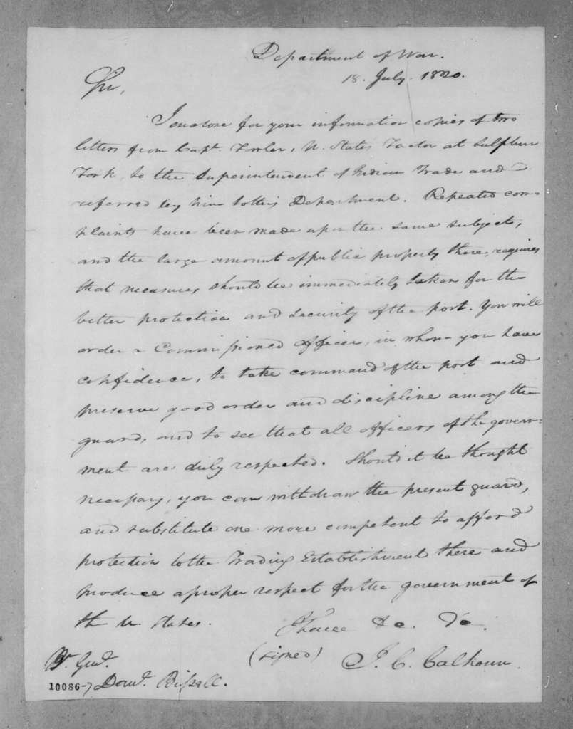 John Caldwell Calhoun to Daniel Bissell, July 18, 1820