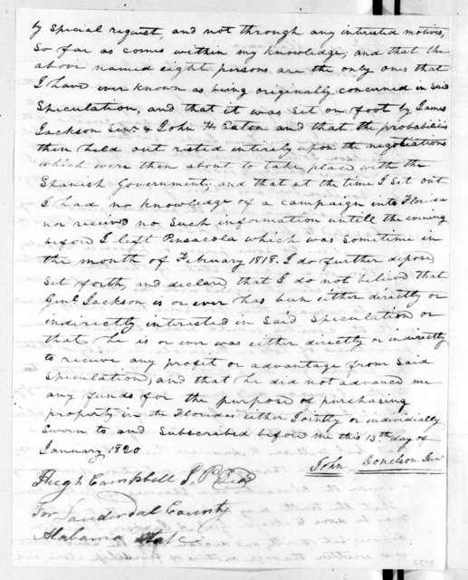 John Donelson, Jr., January 13, 1820