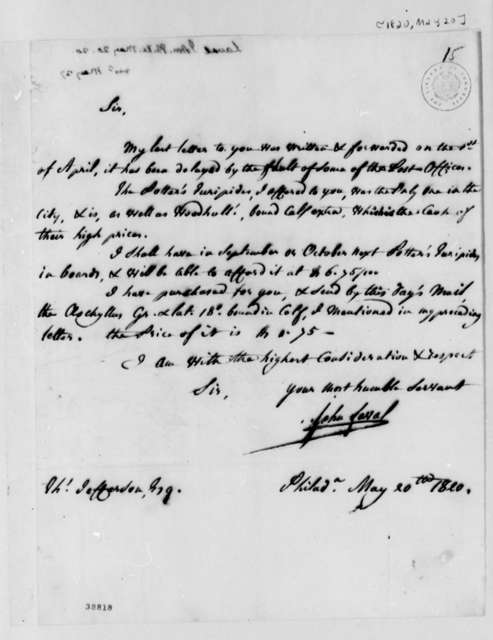 John Laval to Thomas Jefferson, May 20, 1820