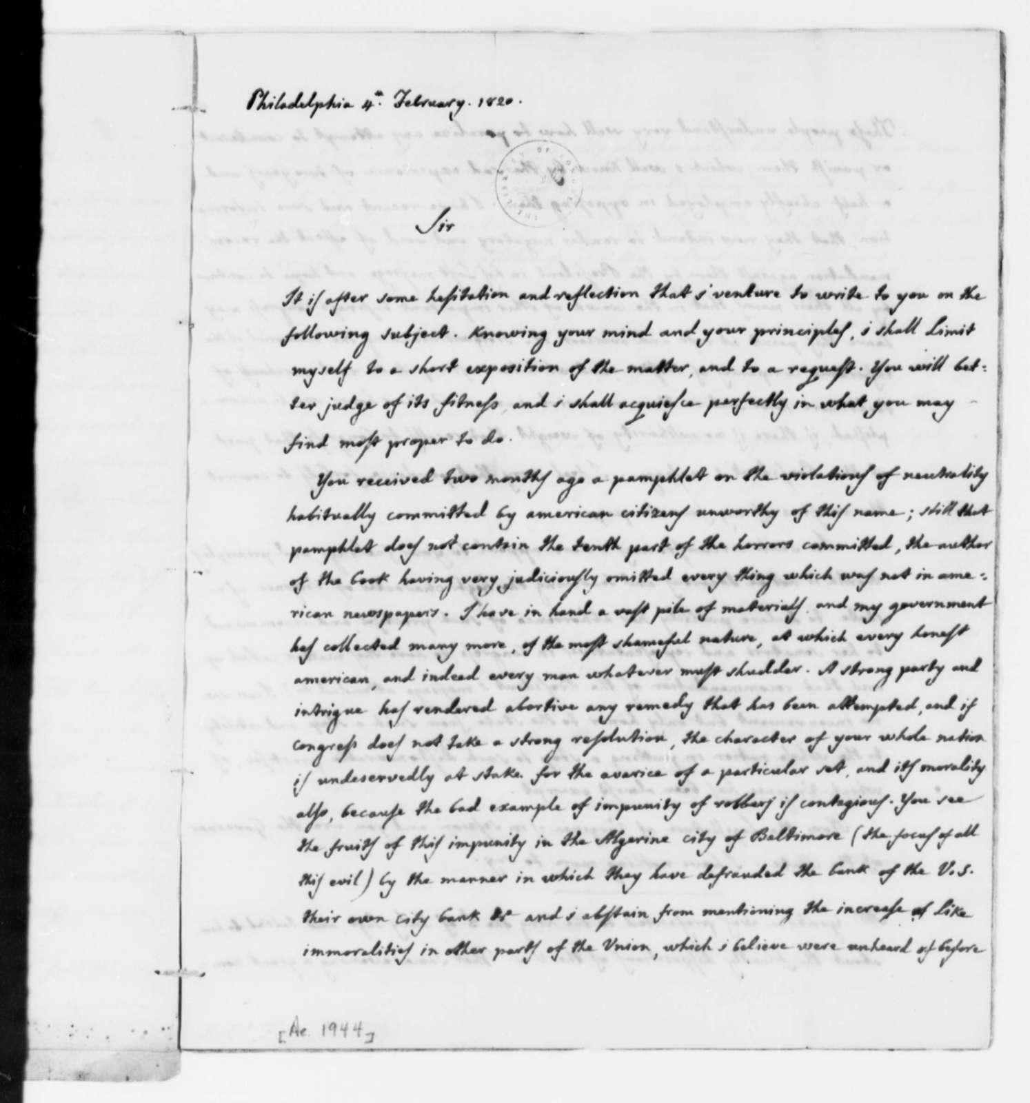 Jose Correa da Serra to Thomas Mann Randolph, Jr., February 4, 1820