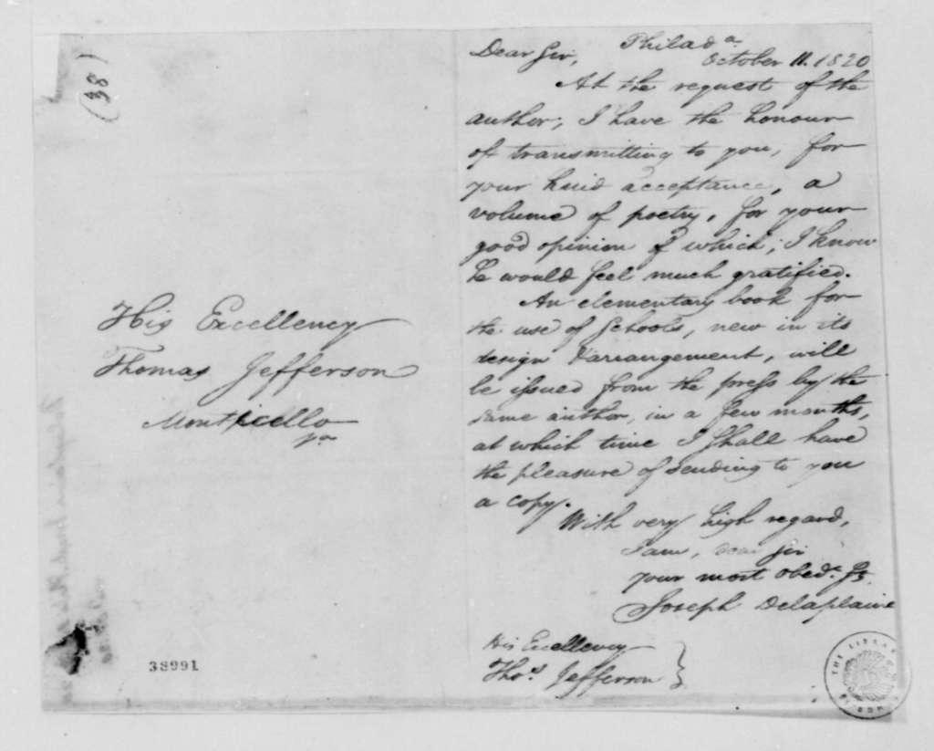 Joseph Delaplaine to Thomas Jefferson, October 11, 1820