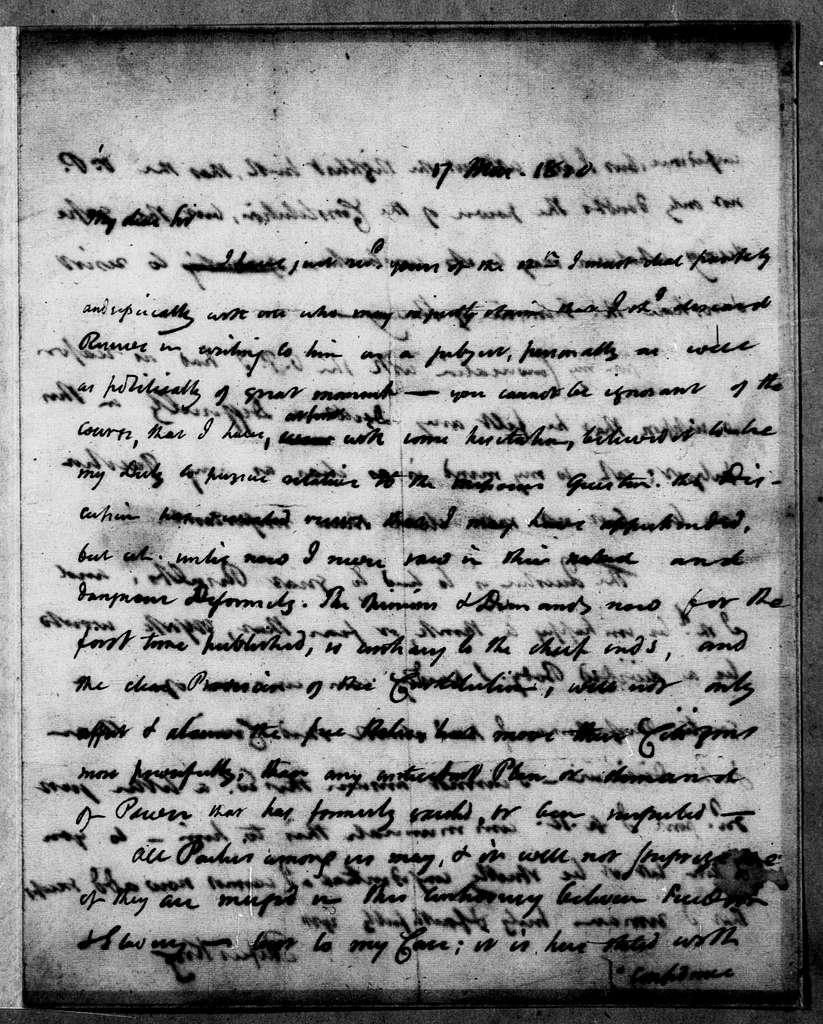 Martin Van Buren Papers: Series 2, General Correspondence, 1787-1868; 1820; 1820, Jan. - June