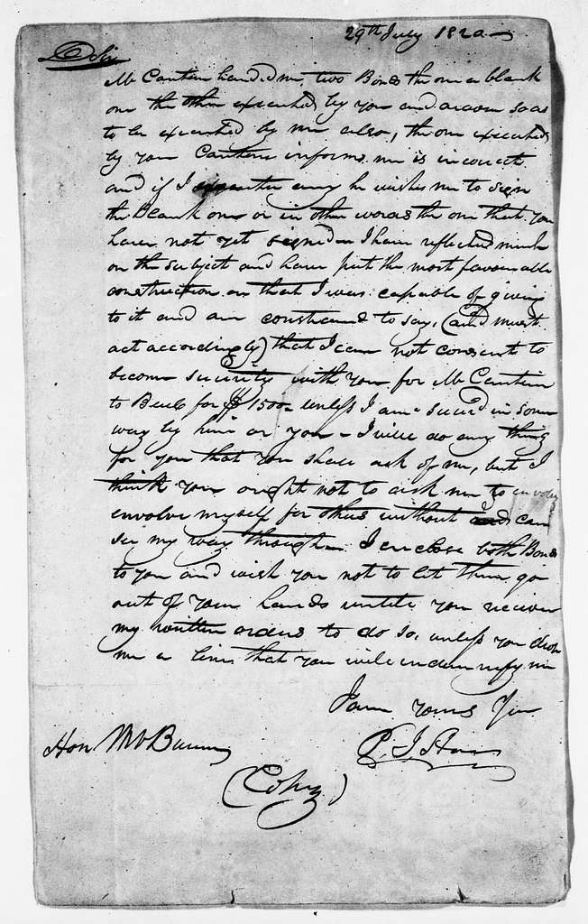 Martin Van Buren Papers: Series 3, Additional Correspondence, 1811-1853; Originals; 1820