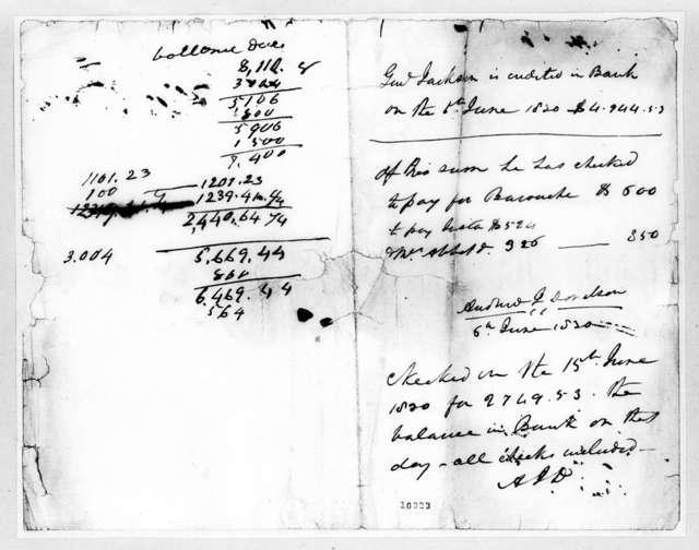 Nashville Bank to Andrew Jackson, June 6, 1820