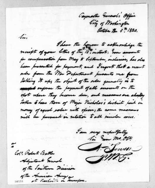 Nathan Towson to Robert Butler, October 5, 1820
