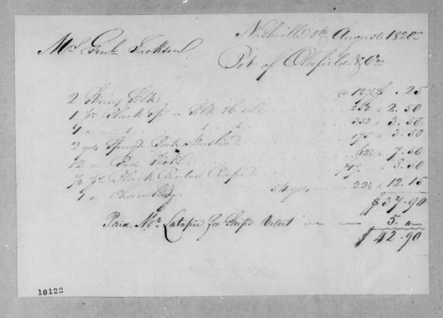 Oldfield & Co to Rachel Donelson Jackson, August 8, 1820
