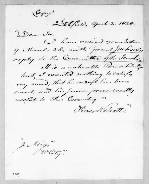 Oliver Wolcott to Return Jonathan Meigs, April 2, 1820