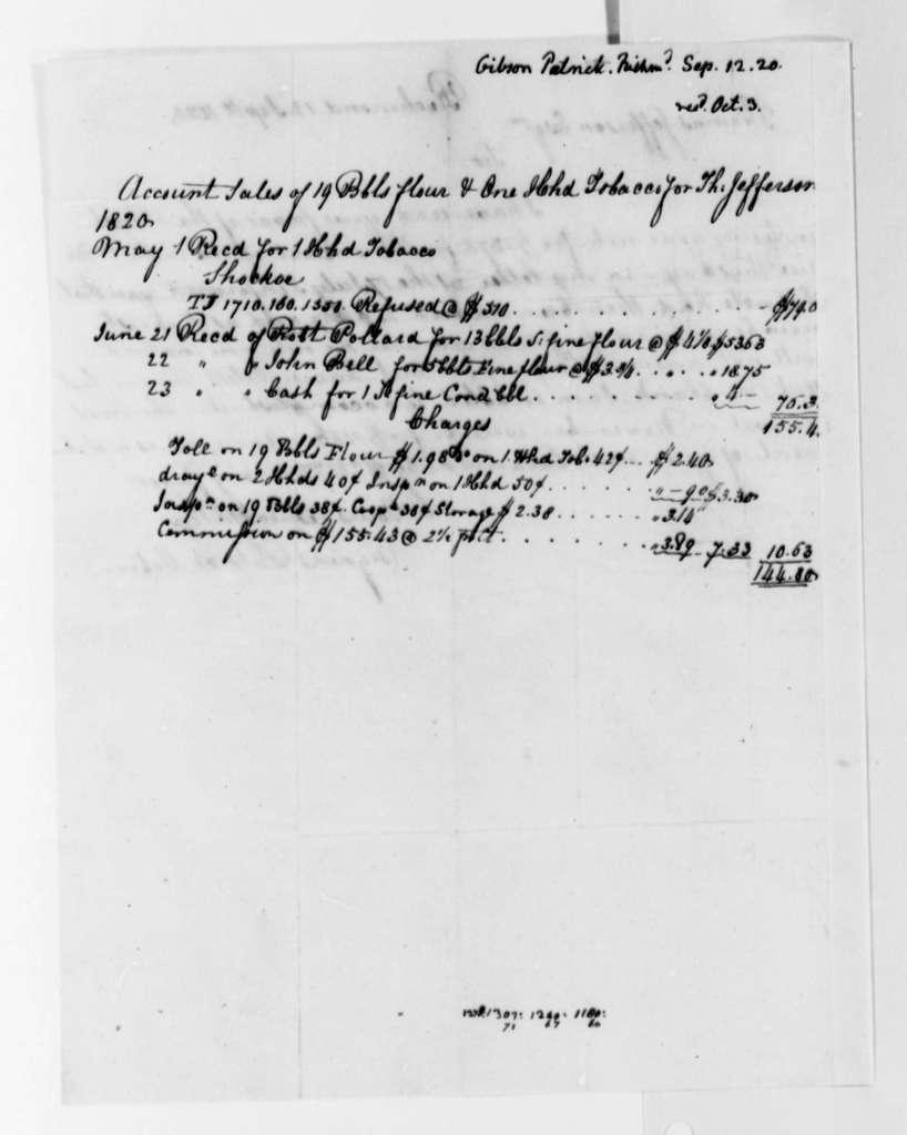 Patrick Gibson to Thomas Jefferson, September 12, 1820