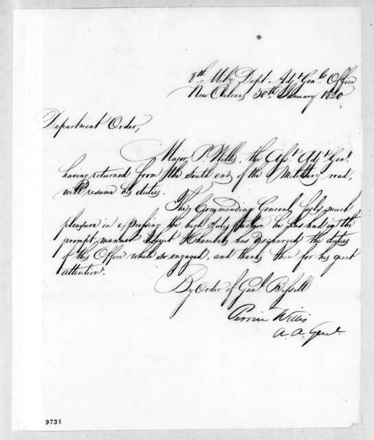 Perrin Willis, January 30, 1820