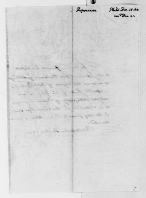 Peter S. du Ponceau to Thomas Jefferson, December 14, 1820