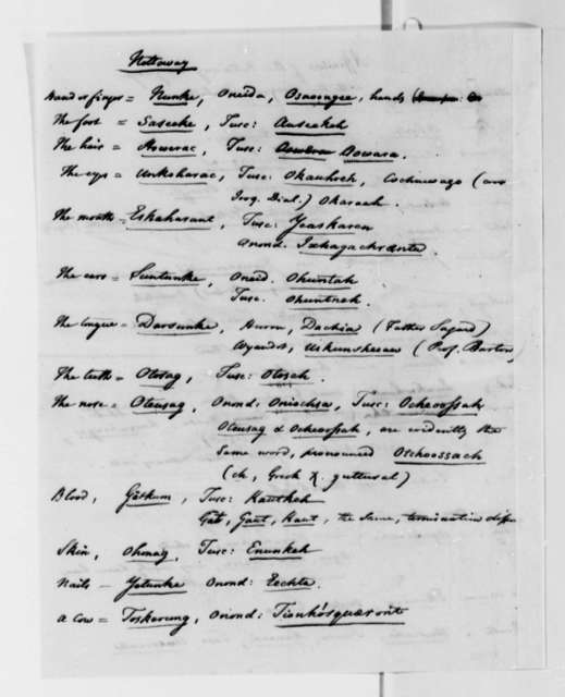 Peter S. du Ponceau to Thomas Jefferson, July 13, 1820, with Vocabulary Comparisons, Nottoway and Iroquois Dialects