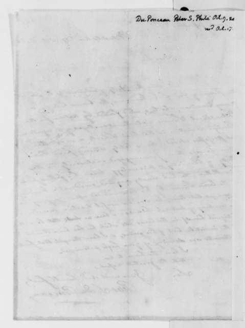 Peter S. du Ponceau to Thomas Jefferson, October 9, 1820