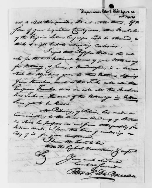 Peter S. du Ponceau to Thomas Jefferson, September 12, 1820