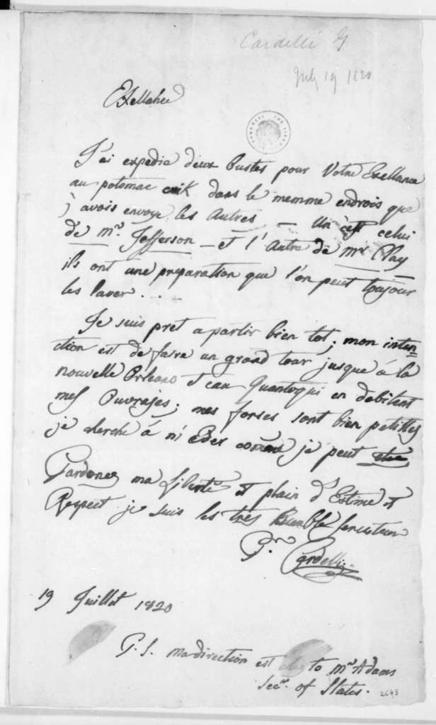 Pietro Cardelli to James Madison, July 19, 1820. In French.