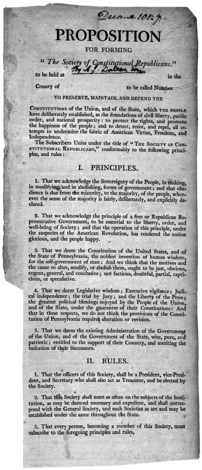 "Proposition for forming ""The Society of Constitutional Republicans to be held at in the County of to be called Number to preserve, maintain, and defend the constitutions of the Union, and of the State ... [182-?]."