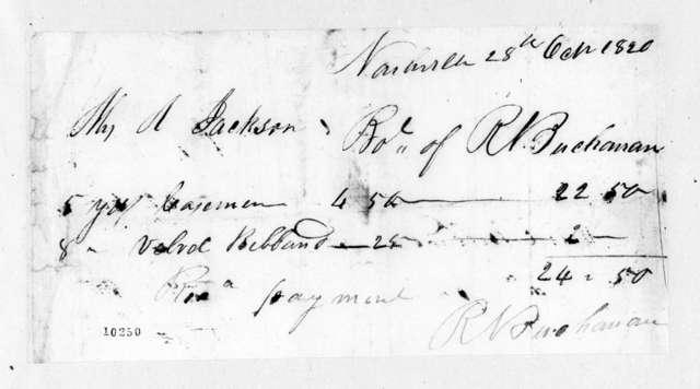 R. N. Buchanan to Rachel Donelson Jackson, October 28, 1820