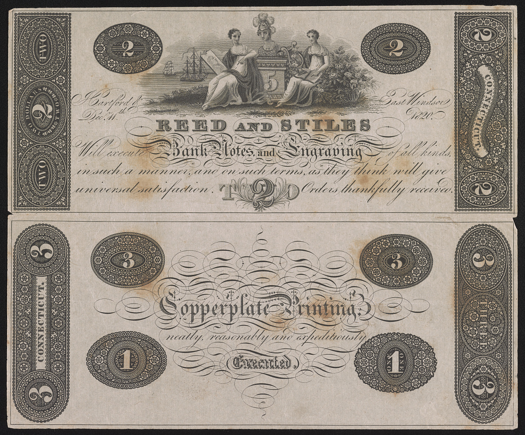 Reed and Stiles will execute bank notes and engraving of all kinds, in such a manner, and on such terms, as they think will give universal satisfaction. Orders thankfully received