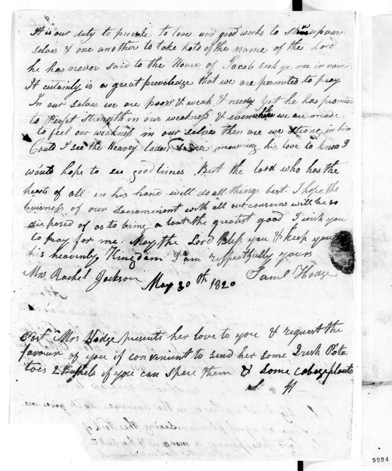 Samuel Hodge to Rachel Donelson Jackson, May 30, 1820