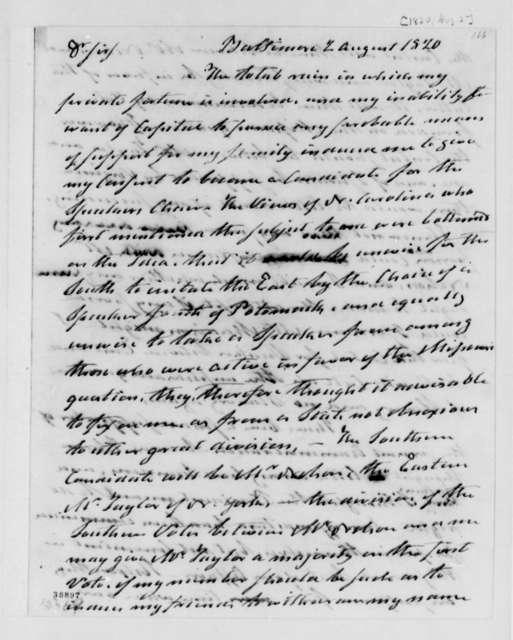 Samuel Smith to Thomas Jefferson, August 2, 1820