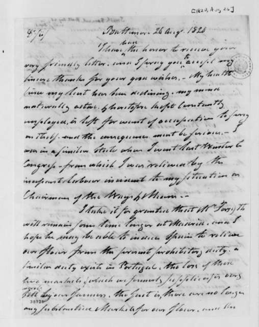 Samuel Smith to Thomas Jefferson, August 26, 1820