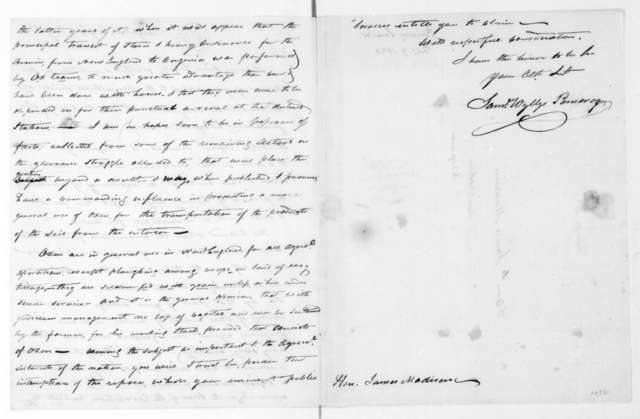 Samuel Wyllys Pomeroy to James Madison, February 7, 1820.