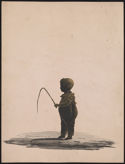 [Silhouette of young boy holding a riding crop, facing left]