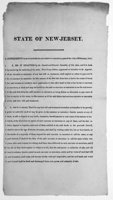 State of New Jersey. A supplement to an act entitled An act relative to executors, passed the 11th of February 1815. [182-?].