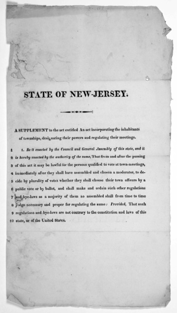 State of New-Jersey. A supplement to the act entitled An act incorporating the inhabitants of townships, designating their powers and regulating their meetings. [182-?].