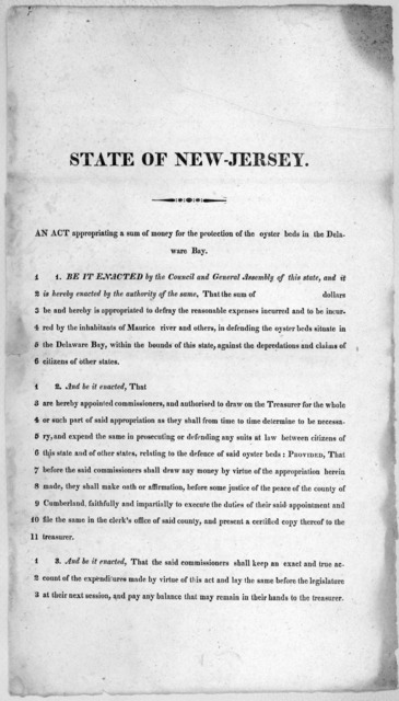 State of New-Jersey. An act appropriating a sum of money for the protection of the oyster beds in the Delaware Bay [182-?].