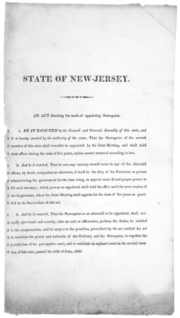 State of New Jersey. An act directing the mode of appointing surrogates. [182-?].