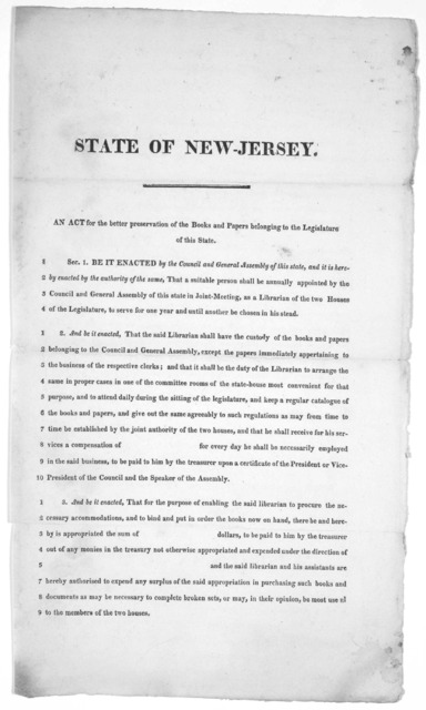 State of New-Jersey. An act for the better preservation of the books and papers belonging to the Legislature of this State. [182-].
