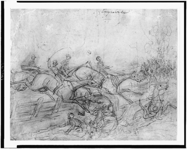 [Steeplechase, some riders and horses have fallen after jumping fence]