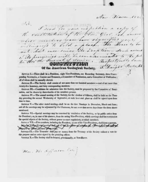 T. Dwight Porter to Thomas Jefferson, March 10, 1820, Note on Printed American Geological Society Act and Constitution, Dated May 31, 1819
