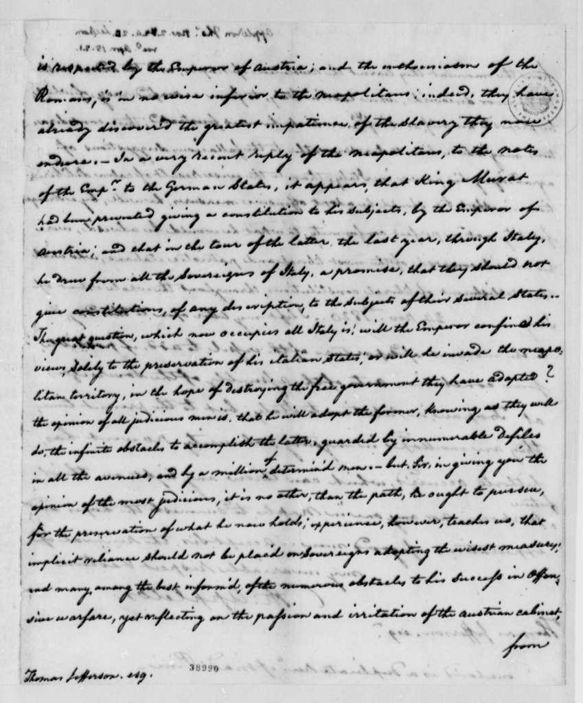 Thomas Appleton to Thomas Jefferson, November 2, 1820, with Pini Letter Enclosed