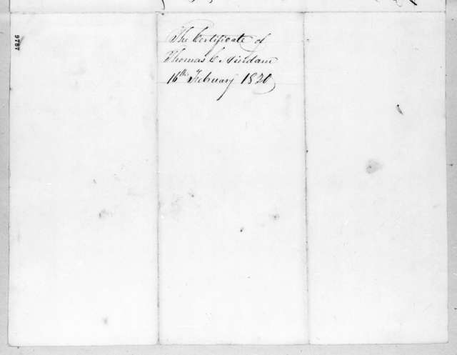 Thomas C. Hindman, February 16, 1820
