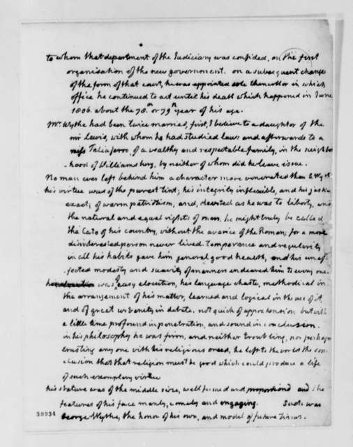 Thomas Jefferson, August 31, 1820, Biographical Notes on George Wythe