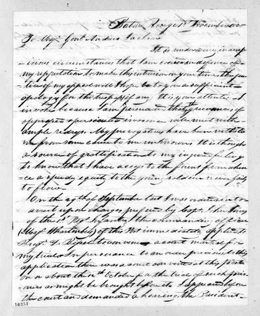 Thomas Jefferson Ayer to Andrew Jackson, November 1, 1820