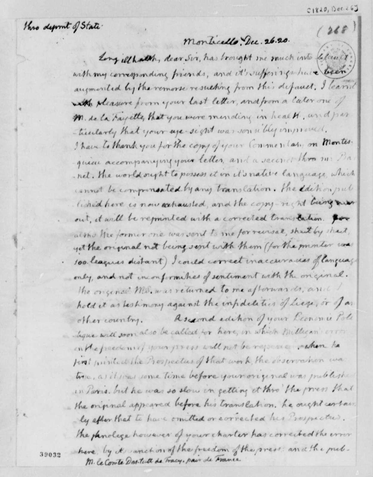 Thomas Jefferson to Antoine Louis Claude Destutt de Tracy, December 26, 1820