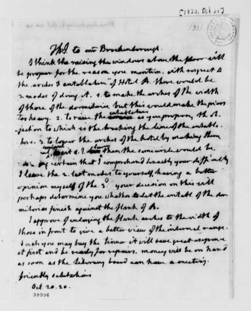 Thomas Jefferson to Arthur S. Brockenbrough, October 20, 1820