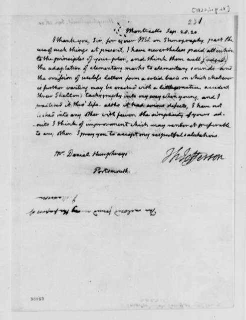 Thomas Jefferson to Daniel Humphreys, September 28, 1820