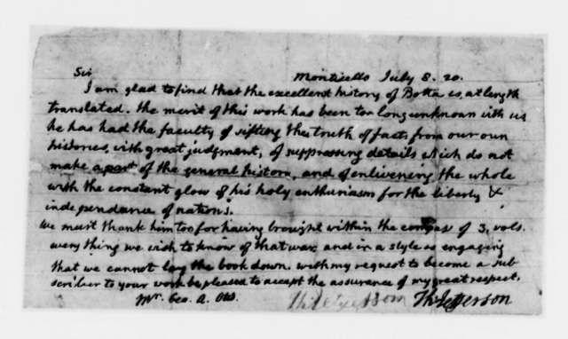 Thomas Jefferson to George A. Otis, July 8, 1820
