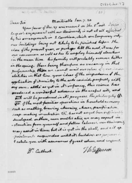 Thomas Jefferson to James Cutbush, January 7, 1820