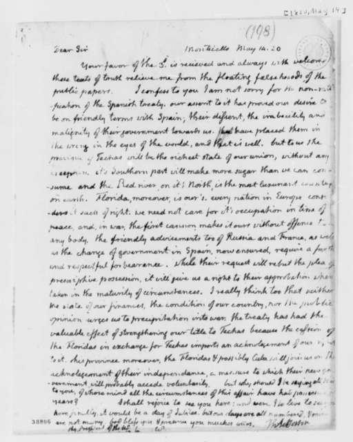 Thomas Jefferson to James Monroe, May 14, 1820