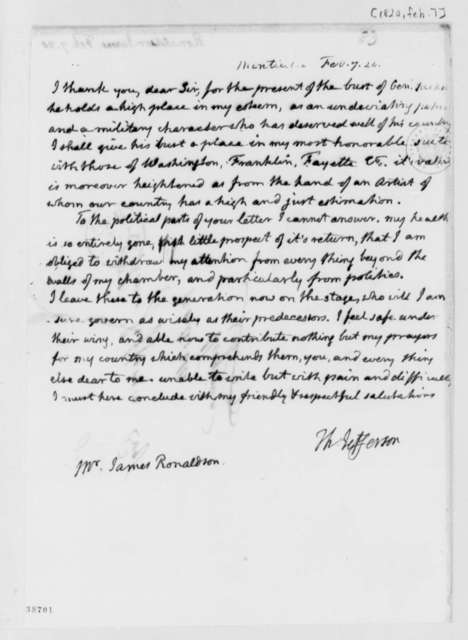 Thomas Jefferson to James Ronaldson, February 7, 1820