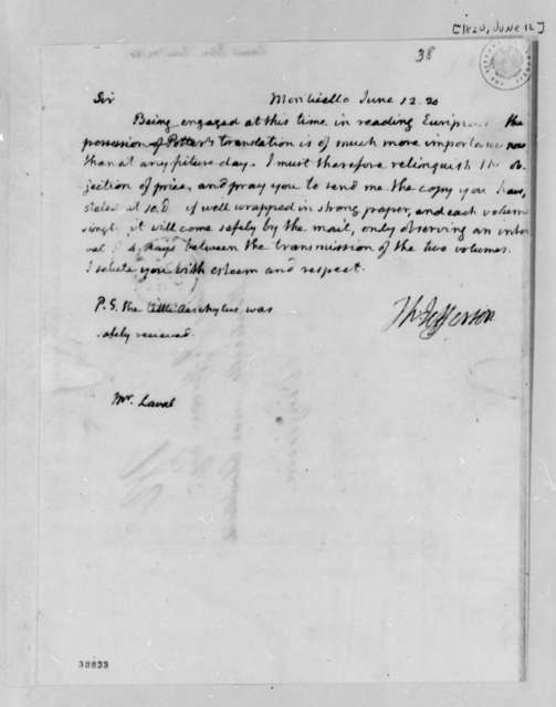 Thomas Jefferson to John Laval, June 12, 1820