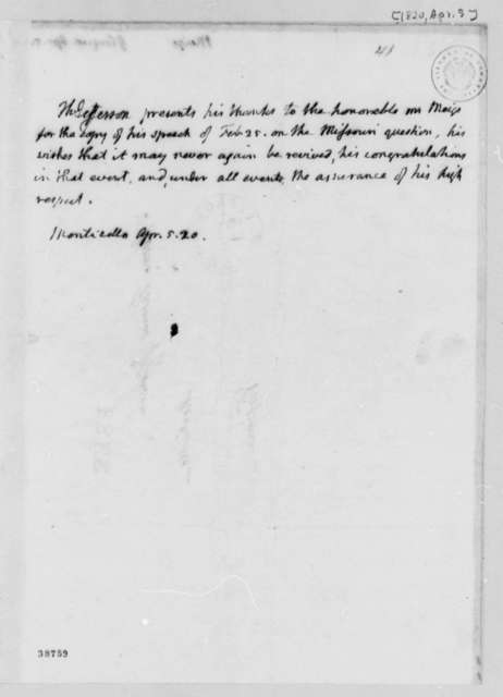 Thomas Jefferson to Josiah Meigs, April 5, 1820