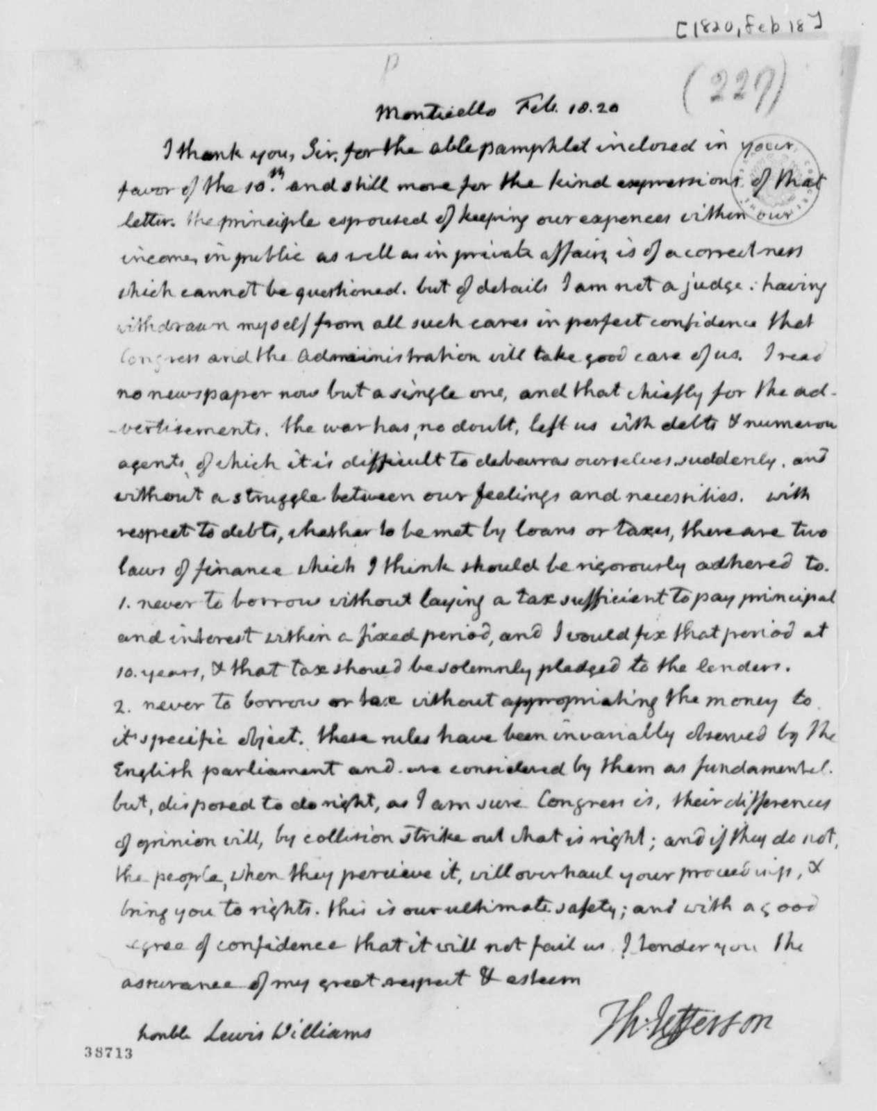 Thomas Jefferson to Lewis Williams, February 18, 1820