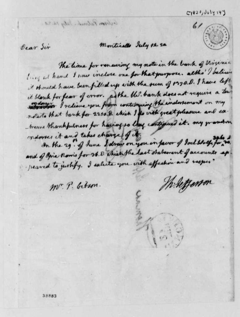 Thomas Jefferson to Patrick Gibson, July 14, 1820